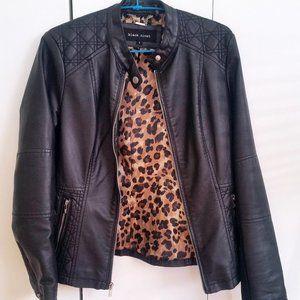 Black Women Faux Leather Jacket Biker Moto Zipped